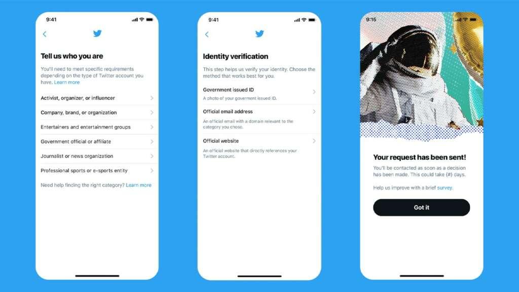 Pasos verificación de perfil en Twitter.