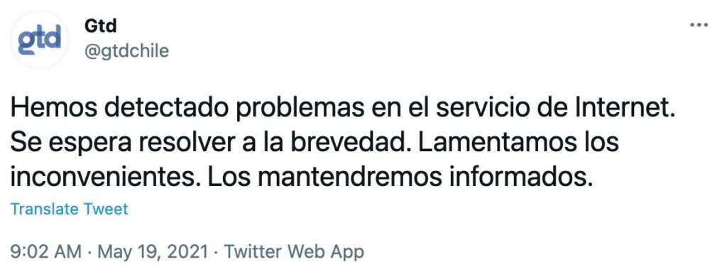 Caída del servicio de Internet en GTD y Telsur obligó a las autoridades a oficiarlos.