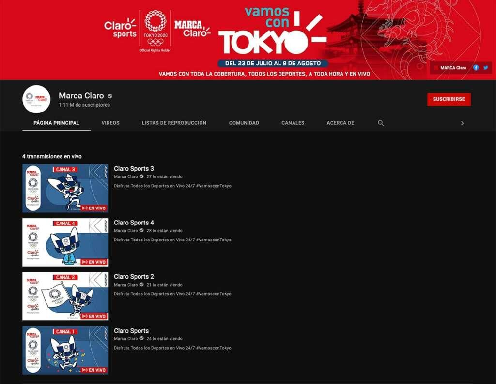 Streaming por YouTube de los Juegos Olímpicos Tokyo 2020.