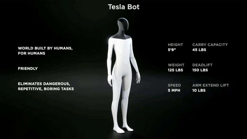 Tesla Bot: especificaciones